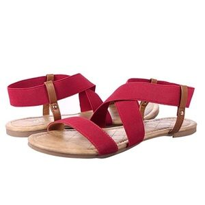 Shoes - Red & Brown Elastic Strap Sandals